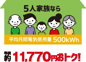 5人家族なら年間約11,770円おトク!