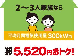 2〜3人家族なら年間約5,5200円おトク!